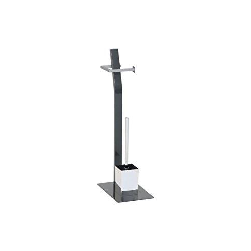 Ribelli Toilettenpapierhalter freihstehend mit Klobürste WC Garnitur anthrazit - hoch ca. 70 cm -Toilettenbürste mit Standfuß und Klopapierhalter - Chrom matt