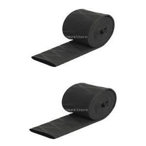 Electroprime® 2pcs Heat Shrink Tubing Textured Tube Fishing Rod Handle Racket Sleeve Black