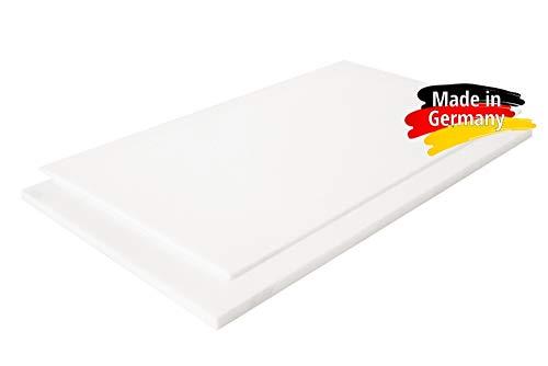 PE-HD Platte Zuschnitte | WEIß NATUR | 2-15mm | VERSCHIEDENE FORMATE | Top Qualität (100 x 49cm, 5mm) Weiße Platte