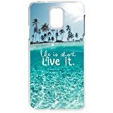 Shark® Palmen Ocean Breeze Aloha Tropical Beach Resort Palm Tree Sand Design Schutzhülle für Samsung Galaxy S5 I9600