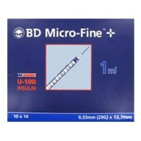 BD MicroFine 1ml Insulin Syringes U100 (Syringe Pack & Size: 1ml x 200)
