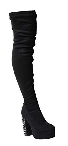 bbb0526d6b05 Tilly London New Black Aaav3 Sexy Over Knee Thigh High Spikes Heel Platform  Steampunk Stretch Boots - £14.99. Women ...