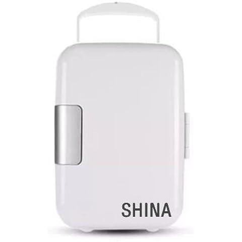 SHINA Mini-Nevera portátil 4L para el hogar, oficina, coche o barco AC & DC AC & DC Refrigerador 6 Can independiente mantiene caliente o congelada (Blanco dual coche y