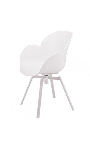 La Chaise Longue - Lot de 4 Fauteuils Design Blanc et métal Cocoon