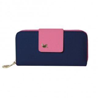 I8Q casuale delle donne PU Holder carte Wallet cuoio del telefono lungo frizione Borse borsa blu