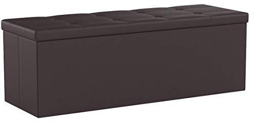 SONGMICS Sitzhocker Sitzbank mit Stauraum faltbar 3-Sitzer belastbar bis 300 kg Kunstleder Braun 110 x 38 x 38 cm LSF703