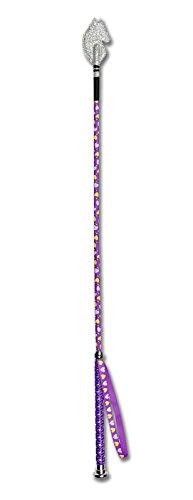 Cravache d'équitation avec motif cœur et tête de cheval klatsche, longueur 65cm, couleur?: violet