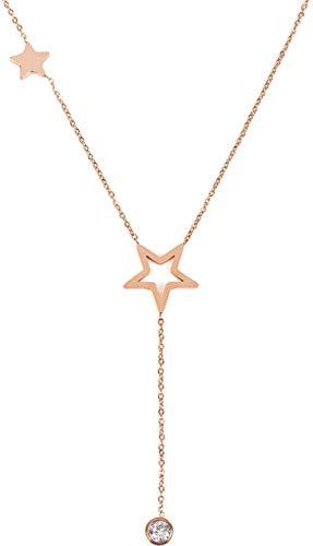 styleBREAKER Damen Edelstahl Y Kette mit Stern Anhängern und Strass, Halskette, Erbskette, Schmuck 05030053, Farbe:Rosegold