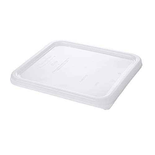 Rubbermaid Commercial Plastic Food Storage Container Lid, Square, White, 3.8 and 7.6 L