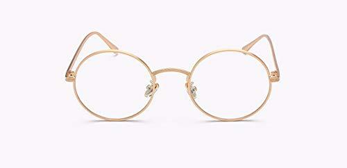 WSKPE Sonnenbrille Runder Spiegel Objektiv Sonnenbrillen Mode Frauen Männer (Gold Rahmen Transparent Linse) Vintage Sonnenbrille Retro Farben Uv400 Brillen