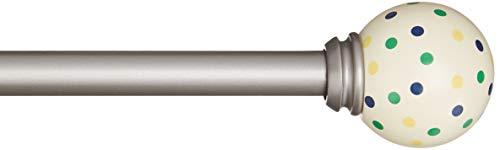 AmazonBasics - Dekorative Gardinenstange, 1,6 cm,  Gepunktet Knauf - 218 cm, Blau/Gelb/Grün-Gepunktet