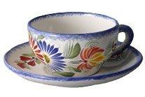 Quimper Fleuri Royal Tea Cup & Saucer by HB Henriot Quimper Hb Henriot Quimper