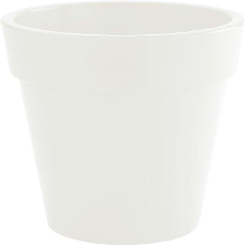 HOWE-Deko Pot de Fleurs, Set de 2, Rond, Ø 40, H 35 cm, Blanc (diverses Couleurs au Choix), Brillante, capacité de 37 litres, pour intérieur et extérieur, Fait de Haute qualité polyéthylène