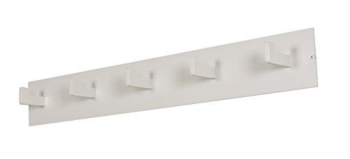 Spinder Design - Leatherman Wandgaderobe / Garderobe - 10x70x7 cm - 5 Haken - Weiß