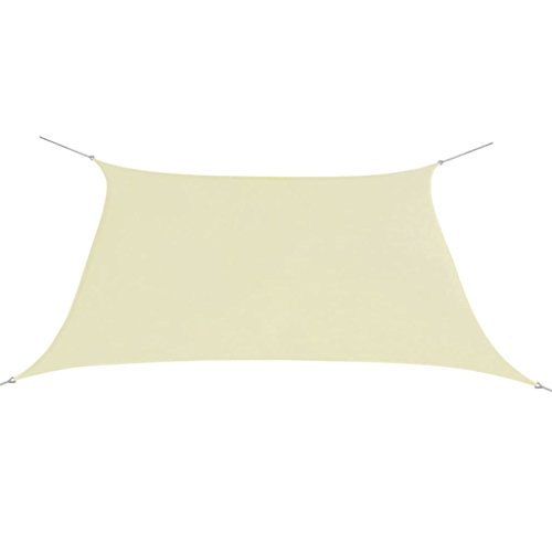 vidaXL Toldo de Vela Cuadrado de Tela Oxford Crema 2x2 m Lona para Sombra