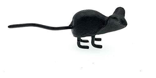 Miller Gartendekoration Mini-Maus aus Gusseisen, 9,5 cm lang, Schwarz
