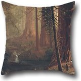 Giant Redwood Tree (Pillow Covers Of Oil Painting Albert Bierstadt - Giant Redwood Trees Of California,for Drawing Room,living Room,pub,bar,son,festival 20 X 20 Inch / 50 By 50 Cm(each Side))