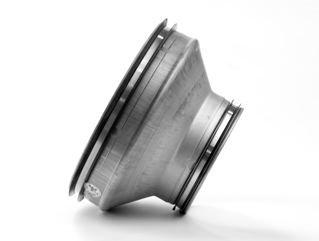 Riduzione di sezione in lamiera di acciaio zincata con guarnizione di tenuta. Raccordo tubo ventilazione e aspirazione. (Tubo partenza Ø 160, Tubo arrivo Ø 80)