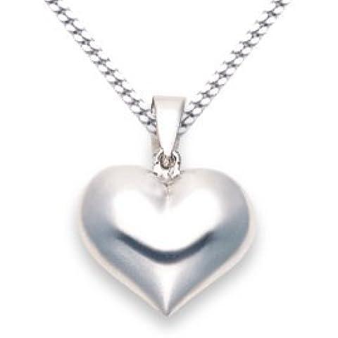 Plata de ley con corazón colgante - doble cara - TAMAÑO: 15 mm x 20 mm en 45,72 cm de cadena eslabones 8181/8499. Caja de