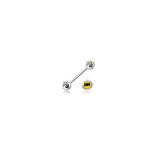 Zunge Barbell Stahl Kugel Logo Batman-Armreif/Schaft 1.6mm, Länge INT. 14mm, Kugel 6mm