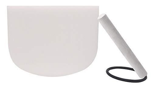 Klangschale 20 cm weiß satiniert Quarzkristall C-Note Wurzelchakra Klangschale Set O-Ring und Schlägel inklusive Entspannungs-Meditation