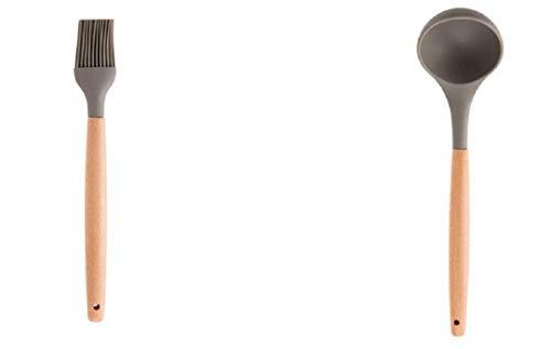 Hi_Smile Backwerkzeug, Ölpinsel, Suppenlöffel, Holzgriff, Grill, Küchenutensilien, 2 Stück -