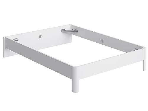 Movian - Cadre de lit double avec tête de lit basse Idre Modern, 194,5 x 144,5 x 31,7, Blanc