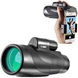 Gosky Titan 10X50 High Power Prism Monocular Quick Smartphone Holder - Waterproof Fog