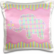 Janna Salak Designs Jungle Animals - Cute Plaid Elephant on Pink and Rainbow Stripe Background - 16x16 inch Pillow Case