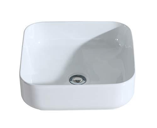 Eridanus Série Juno, Vasque à Poser Lavabo Lave-Mains Évier en Céramique Salle de Bain Toilettes L38*L38*H14cm