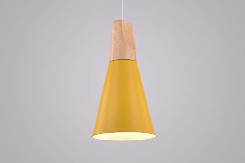 CAGUSTO Pendelleuchte Olof III Gelb Metall Schirm Holz Natur Retro Design Hängeleuchte