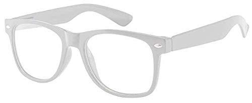 Sonnenbrille Nerdbrille retro Art. 4026 - Boolavard® TM (Weiß Klar)