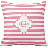 Pink Stripes Monogrammed Square Accent Pillow Case (Stripe Accent Pillow)
