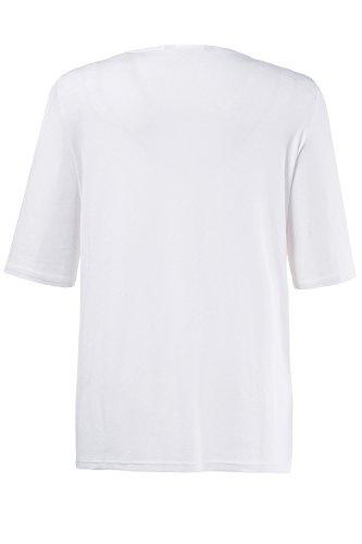 Ulla Popken Damen große Größen | Shirt mit Stickerei | Vogel-Motiv | V-Ausschnitt | langer Halbarm | bis Größe 58+ | 712028 Weiß