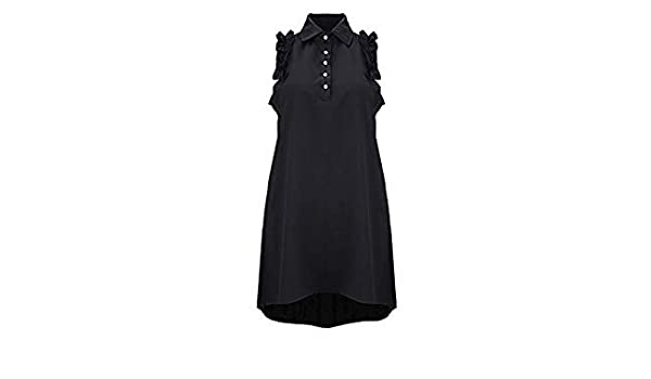 e1811e5bc10 Summer A-Line Dress Women Beach Dress V-Neck Solid Chiffon Sleeveless  Button Short Mini Dress Lapel Skirt  3j03 F Color Black Size S  Amazon.in   Beauty