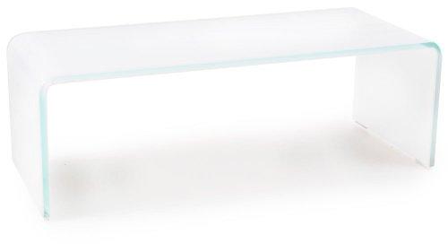 TV-Schrank Glasaufsatz Monitorerhöhung Glas Weiß gebogen Glastisch 60cm HAGEN B153048-3S