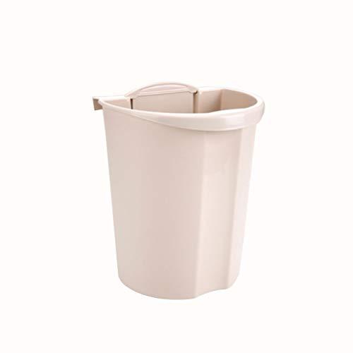 Zlw-shop Secchi per la spazzatura Contenitore di immondizia dell'immondizia del Cestino di Carta della Famiglia della pattumiera appiccicosa (Color : Beige)