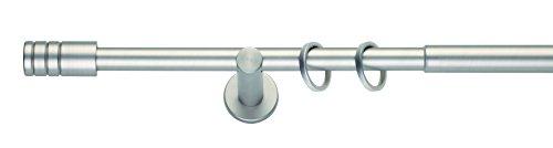 mydeco Komplettgarnitur in Edelstahl - Ausziehbar von 120 cm bis 210 cm; Rillcube 19 mm Gardinenstange aus Metall inkl. Träger, Ringe + Befestigung (Edelstahl Gardinenstange)