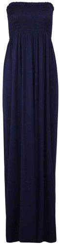Purple Hanger - Robe Longue Bustier Sans Manche Longue Bandeau Jersey Elastique Été Bleu Marine