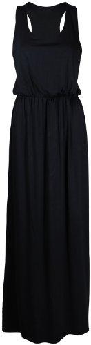 Maxi vestito da donna senza maniche, scollo elasticizzato, Racer back Toga, gilet completo in jersey, taglie forti Black