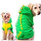 FLAdorepet Funny Halloween Big Große Hunde Dinosaurier Kostüm Jacke Mantel Warm Fleece Winter Golden Retriever Pitbull Hund Kleidung Hoodie, 6XL, - Kostüm Für Golden Retriever