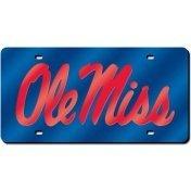 NCAA Mississippi Old Miss Rebels Laser Cut License Plate, Blue