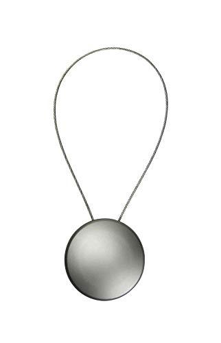 Magnet Clip - Dekomagnet - Ø 45 mm mit 30cm-Drahtschlaufe - z.B. zum Raffen von Gardinen - edelstahl