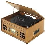 Antique Wood 4 in 1 Nostalgic Retro Wooden Music Centre Turntable Vinyl Record Player, CD, AM/FM Radio & Cassette Player - Music System - UK Model