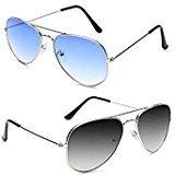 Sheomy Aviator Unisex Sunglasses Combo (Blue) (Sun-000080|55|Blue)