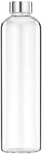 Amazon Brand - Solimo Borosilicate Glass Water Bottle, 1 Litre