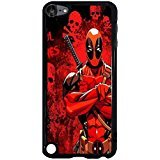 Ipod Touch 5th Generation Cover Shell Unique Red Skulls Design Awesome Comic Superhero Deadpool Phone Case Cover for Ipod Touch 5th Generation Mercenary Great,Cas De Téléphone
