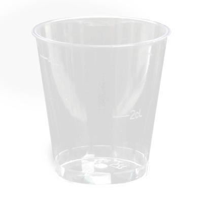 1.000 Gläser für Schnaps, PS 2/4 cl Ø 4,2 cm 5,2 cm glasklar Schnapsglas Plastik mit Eichstrich