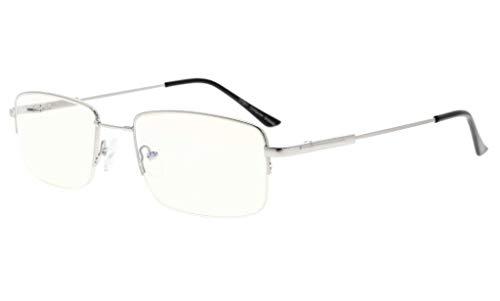 Eyekepper Halber Felge Lesen Gläser-Blau Licht Blockierung-Reduzierte Auge Belastung-Memory Computer Brille Titanium Leser Männer, Transparente Linse (Silber,+4.00)