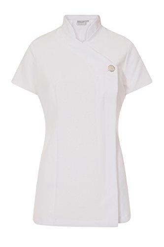 proluxe, tunica classica con bottone, per salone di bellezza, parrucchiera, centro massaggi e centro benessere, disponibile in 9 colori. - 56 - white
